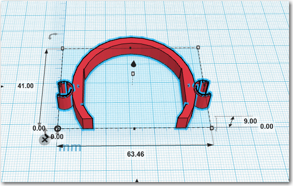 TinkerCad drawing for the final body clip, with prototype bit clips attached