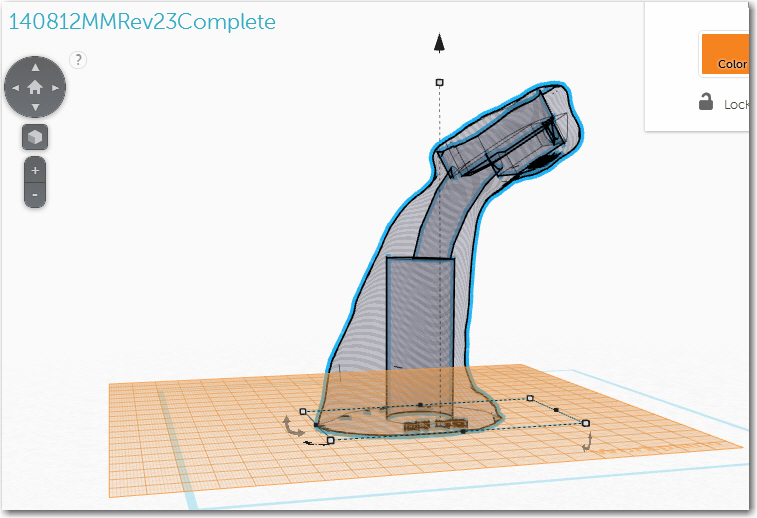 """Final version, showing the 1"""" vertical cylinder for joystick handle mounting, and the curved wiring passageway"""