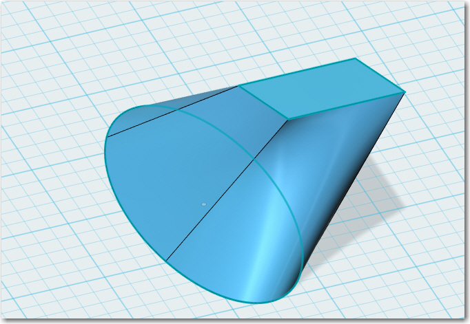An ellipse 'lofted' into a tilted rectangle