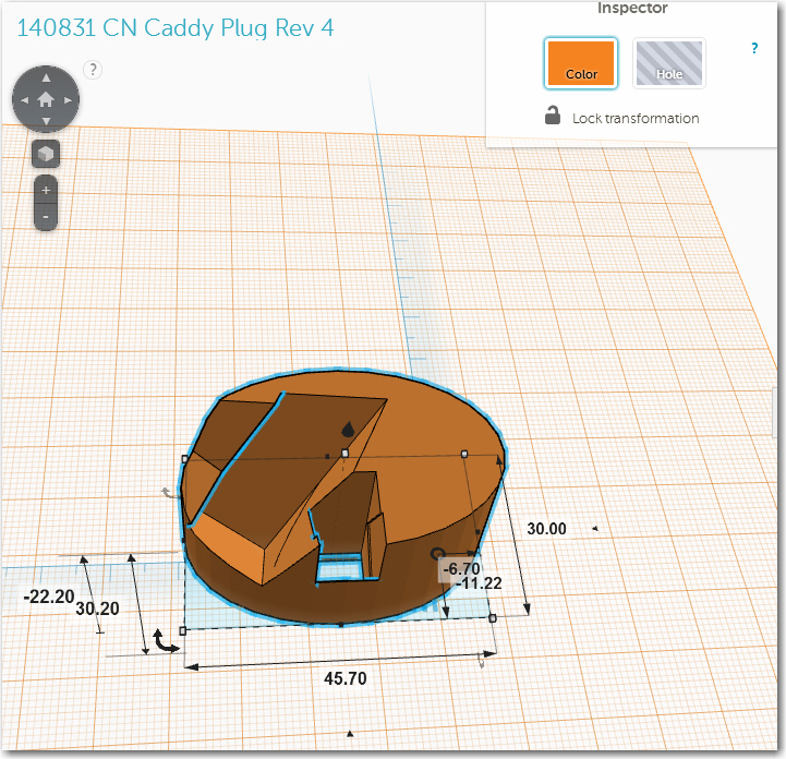 TinkerCad drawing for the CN caddy plug with large indent