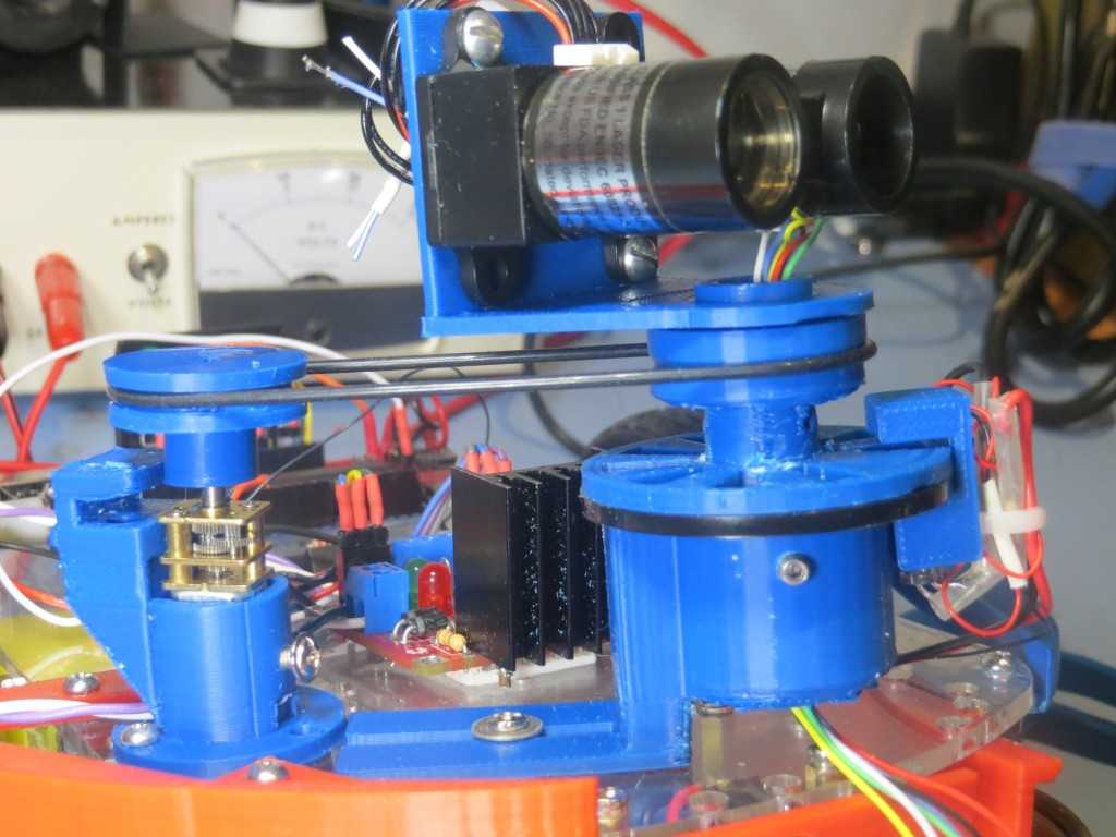 Revised LIDAR and DC motor mounting scheme, with Tach wheel and sensor moved to LIDAR mount
