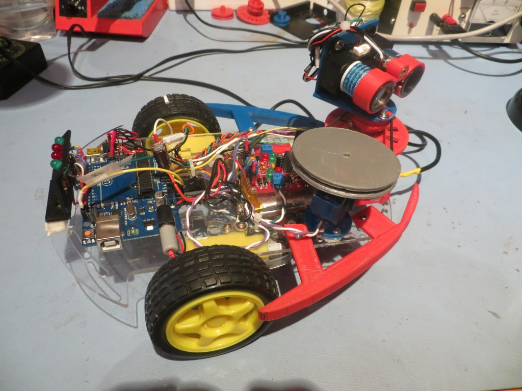 'The Last Spinning LIDAR' version.  Note the large gray drive pulley.  Gets the spin rate up to around 180 RPM, but at the cost of much higher battery drain.