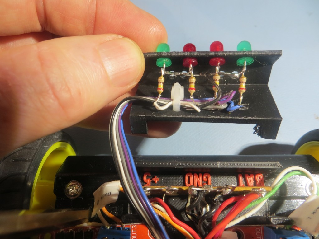 Inside view of the top part of the two-part terminal strip cover, showing the LED array installation