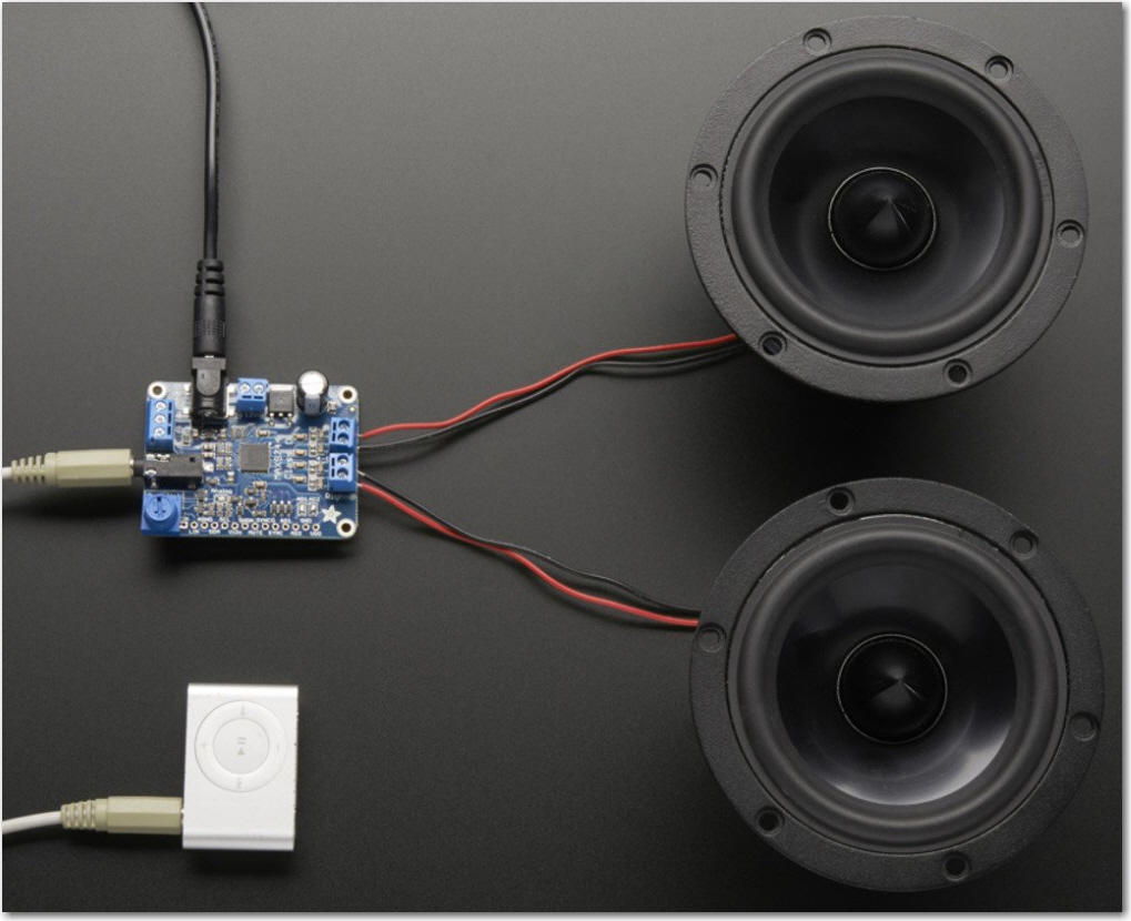 Adafruit 20W Class-D speaker amplifier application