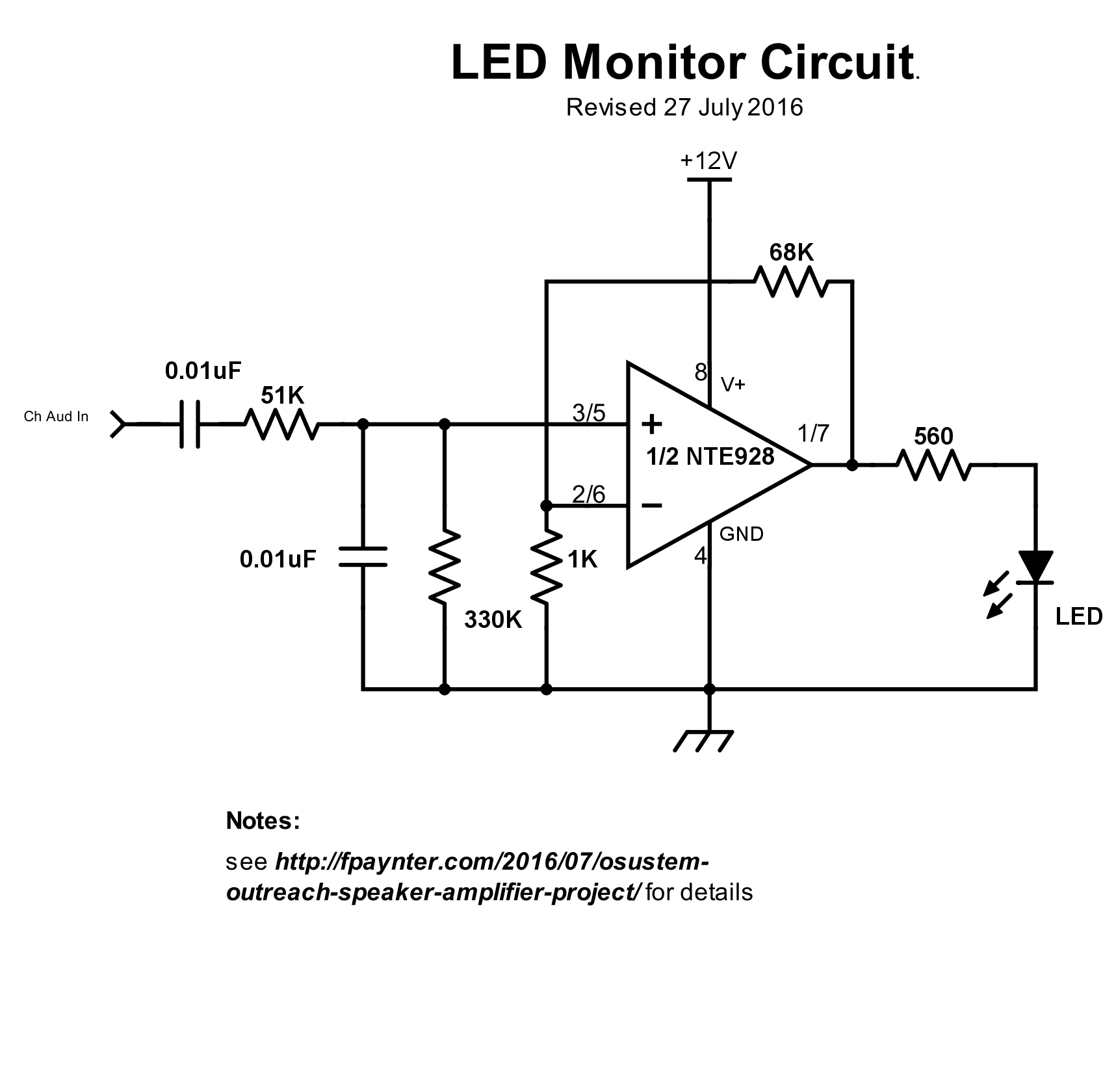 Revised LED monitor schematic - one of two channels shown.