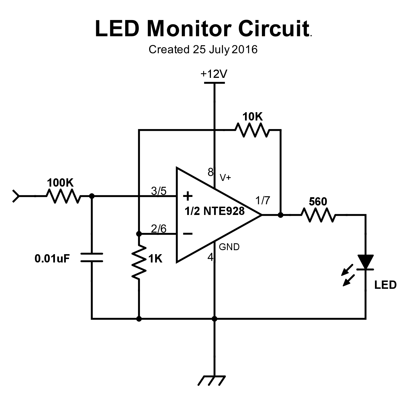 LED monitor circuit for one channel