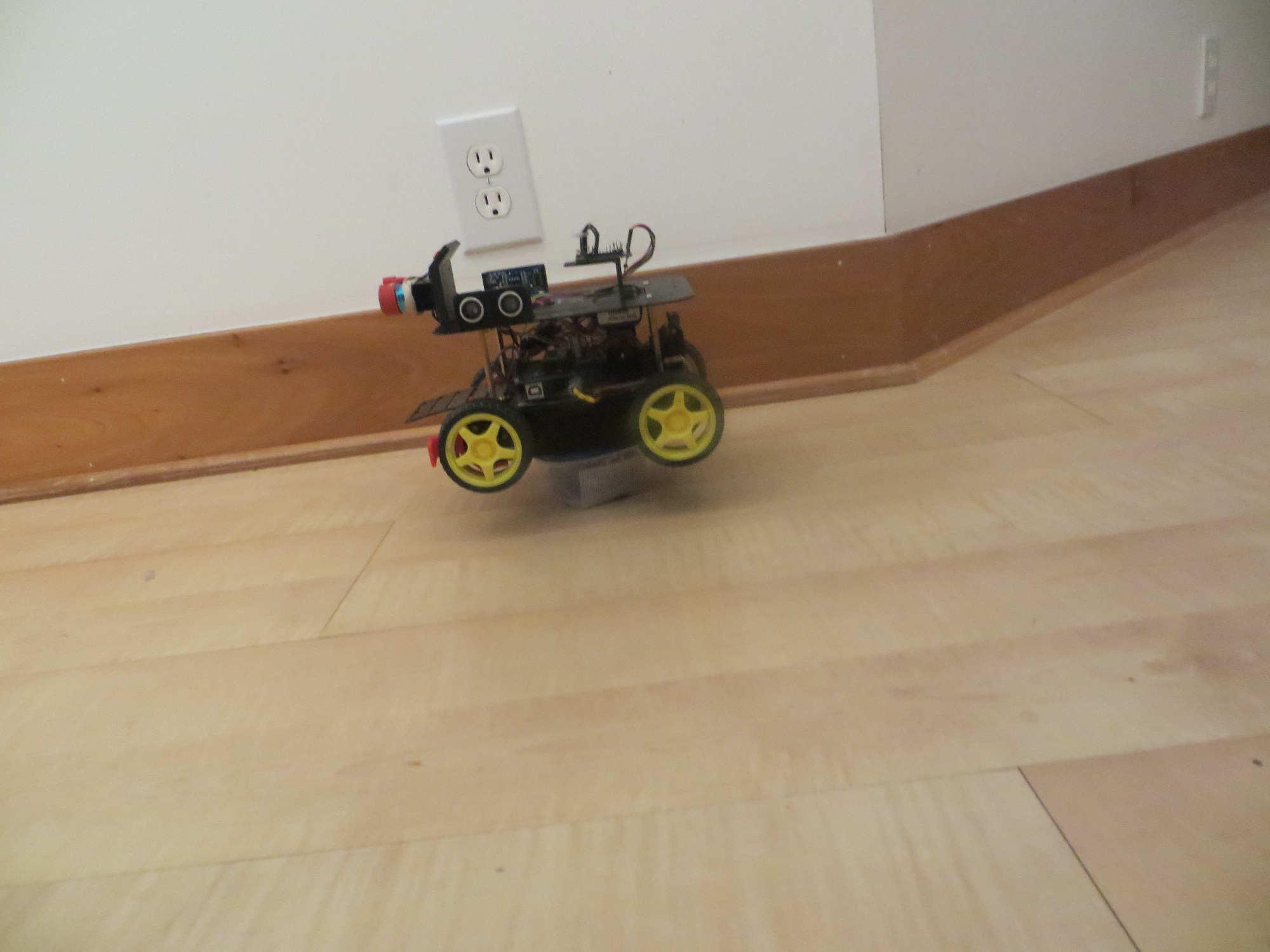 Wall-E2 on a pedestal so motors can run normally without moving the robot