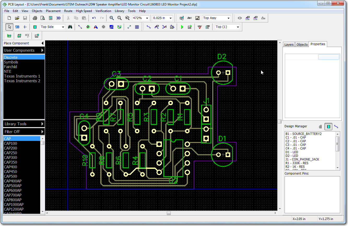 Finished PCB layout. Note the purple board border is customized to fit on top of the Adafruit amp board