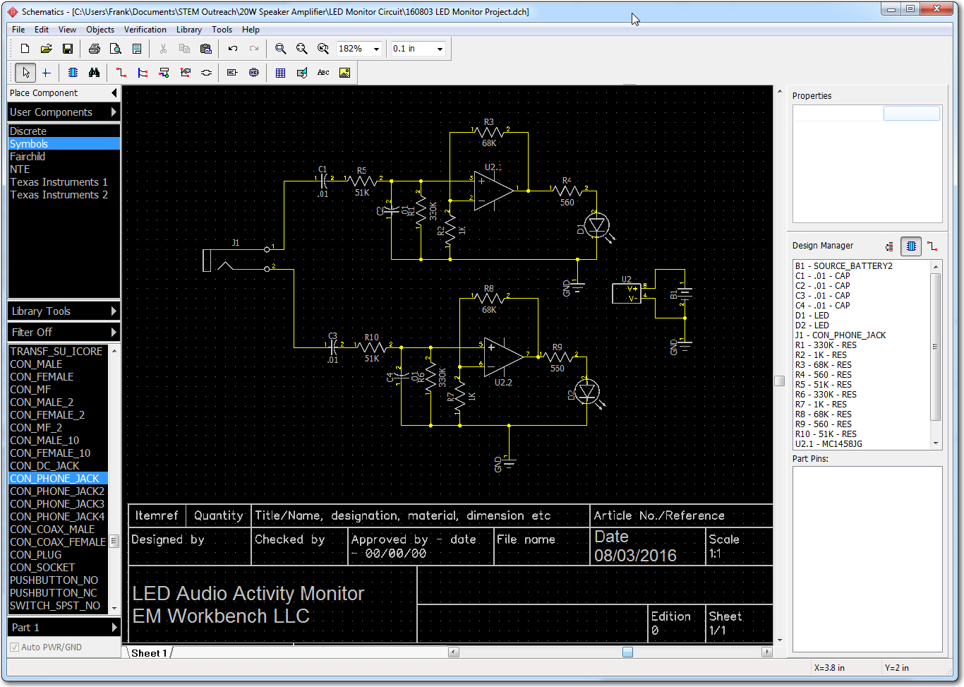 LED Monitor circuit schematic as captured in DipTrace