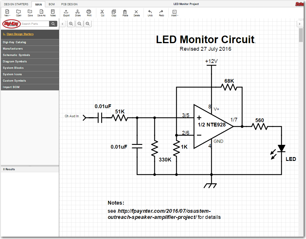 LED Monitor circuit schematic as captured in Digikey's 'Scheme-It' app