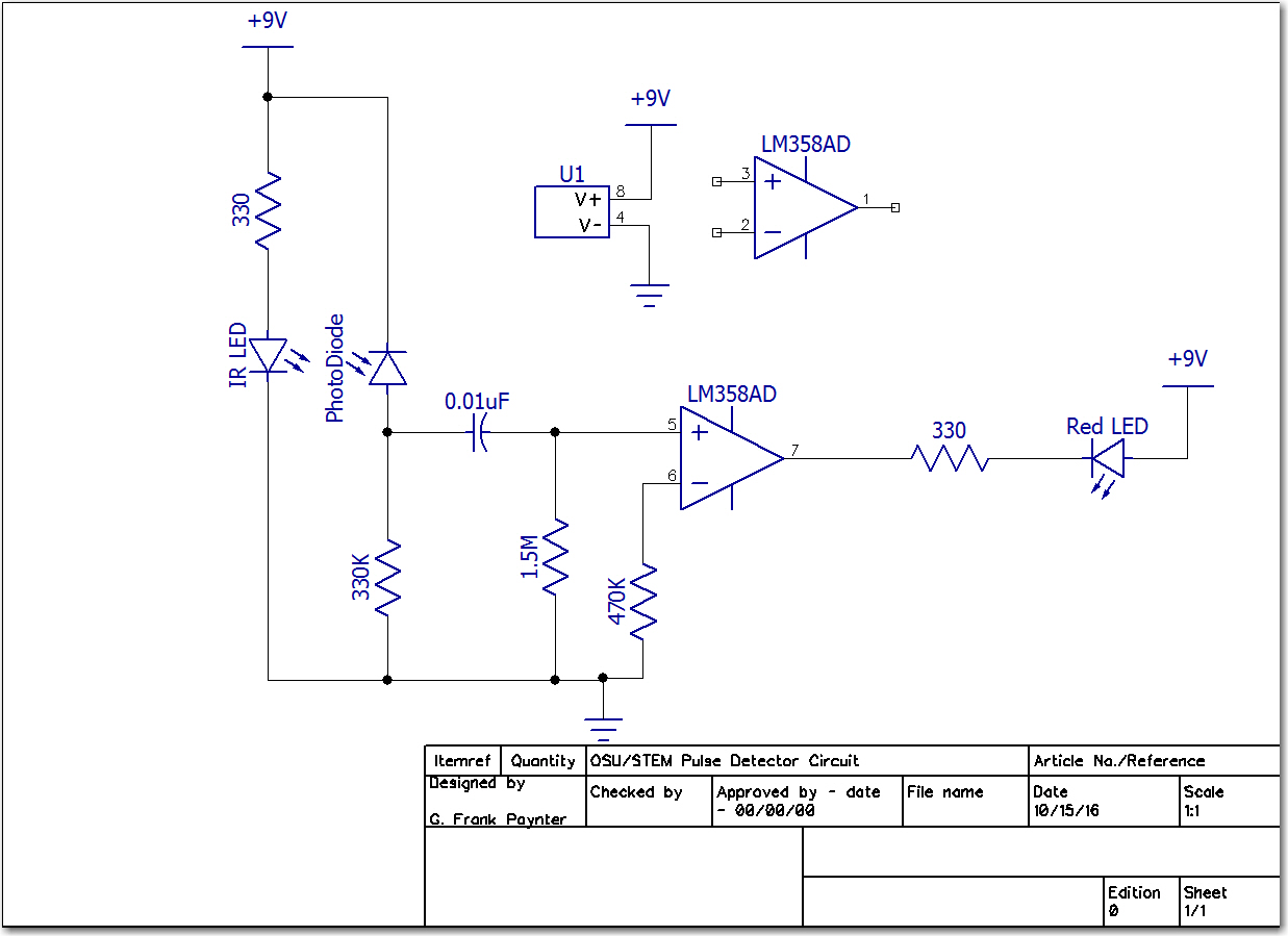 Final single-supply Pulse Detector schematic