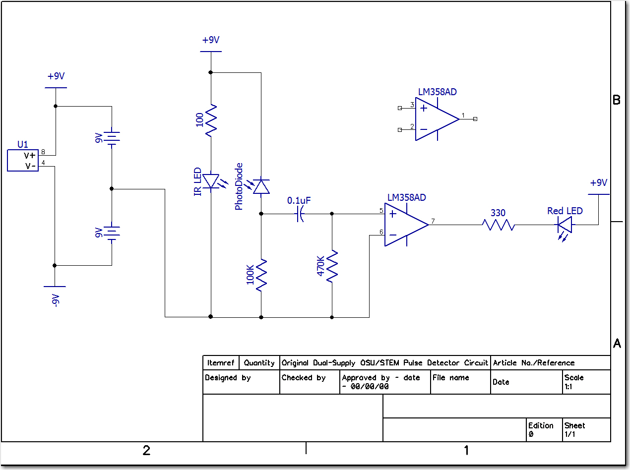Original OSU Pulse Detector circuit.  Note the dual 9V suppies