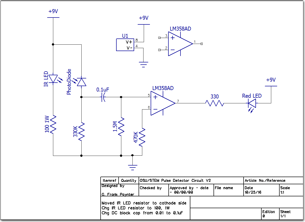 Final pulse detector schematic.  Note change to IR LED current limit resistor, and DC blocking capacitor