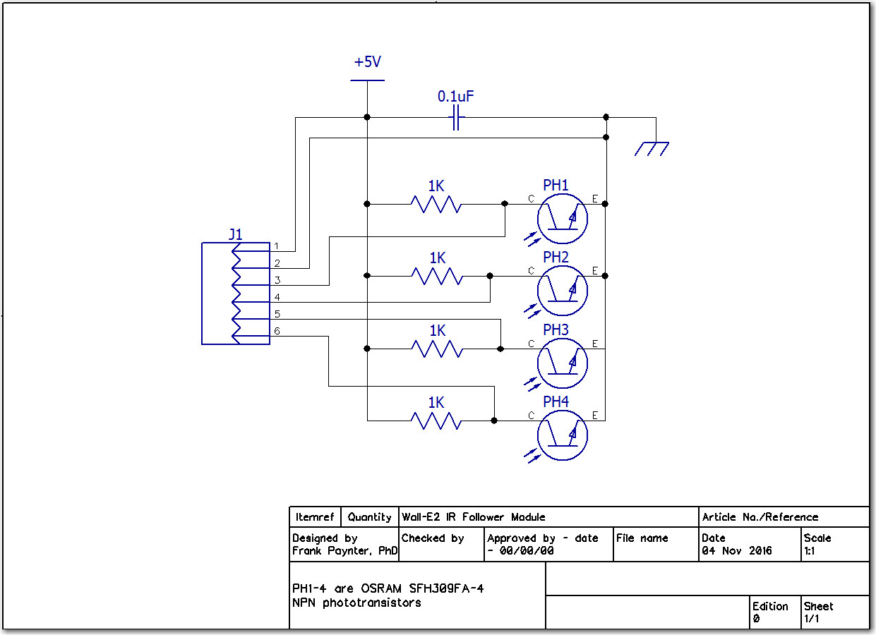 Wall-E2 IR Follower circuit diagram