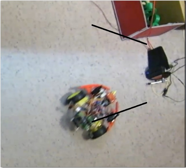 Frame from side capture homing video, with simulated capture basket lines